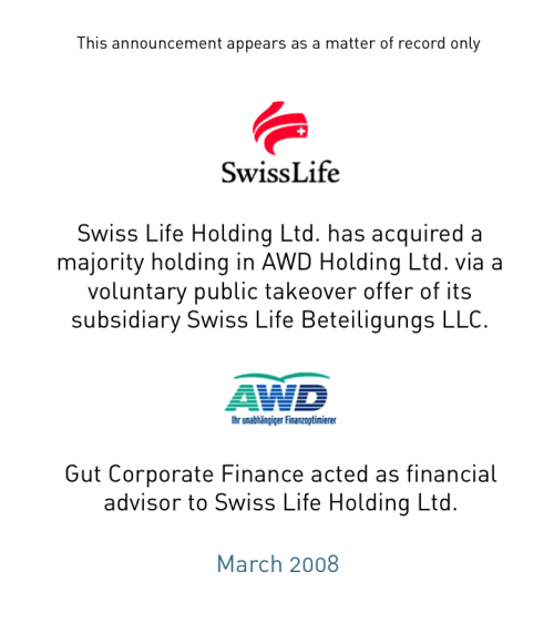 Swiss Life and AWD join forces to accelerate international growth