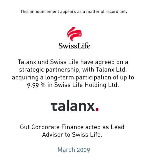 Swiss Life and Talanx agree strategic partnership