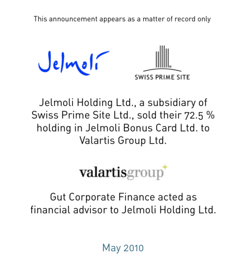 Sale of Jelmoli Bonus Card Ltd.