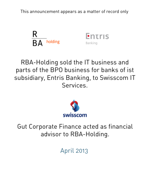 RBA-Holding sold the IT-Outsourcing Business to Swisscom